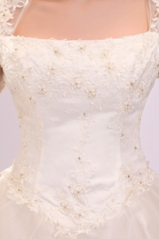 3/4 Sleeves Square Neckline Puffy White Tulle Plus Size Winter Wedding Dress