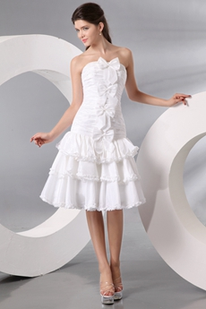 Lovely Knee Length Informal Summer Wedding Dress With Bowknot