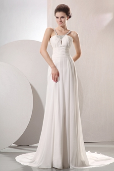 Romantic Double Straps A-line Chiffon Summer Beach Wedding Dress