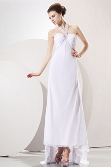 Flowing Halter Neckline Column Chiffon Summer Beach Wedding Gown