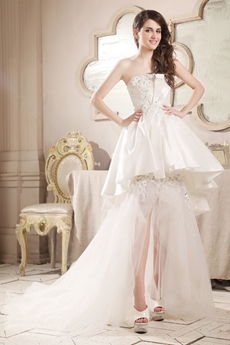 Romantic Strapless Neckline A-line High Low Beach Wedding Dress