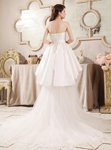 Romantic Strapless Neckline A-line High Low Beach Wedding Dress