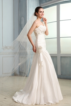 Vintage Shallow Sweetheart Sheath Full Length Taffeta Wedding Dress 2016