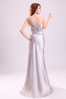 Sexy Single Straps A-line Floor Length Silver Satin Wedding Dress Cut Out