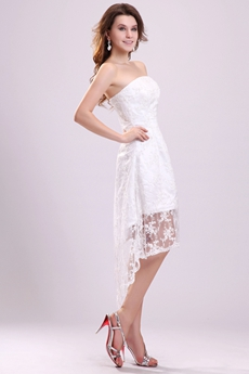 Cute Strapless Neckline Lace Material High Low Beach Wedding Dress