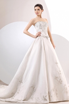 Luxurious Strapless Neckline A-line  White Wedding Dress With Silver Embroidery