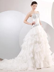 Dazzling Multi Ruffled Wedding Dress Dropped Waist