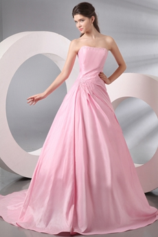 Extraordinary Strapless Ball Gown Pink Mature Wedding Dress