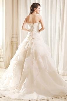 Classy Strapless Neckline A-line White Organza Wedding Dress 2016 With Butterflies