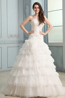 Graceful Cowl Neckline A-line Organza Tiered Wedding Dress