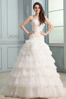 Graceful Cowl Neckline A-line Organza Tiered Wedding Dress