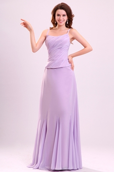 Pretty Spaghetti Straps A-line Full Length Lilac Chiffon Mother Of The Bride Dress