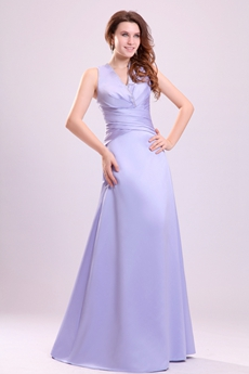 Exclusive V-neckline Sleeveless Full Length Lavender Mother Of The Bride Dress