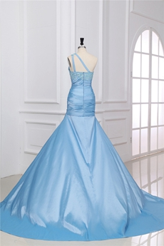 Noble One Shoulder Sheath Full Length Light Sky Blue Quinceanera Dress