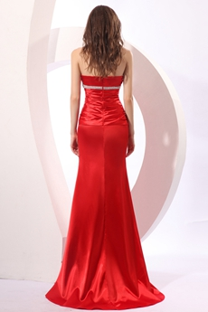 Latest V-Neckline Sheath Full Length Red Satin Prom Dress