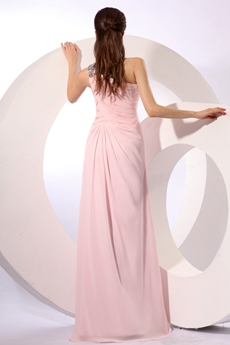 Exclusive One Shoulder Straight Chiffon Pink Celebrity Evening Dress