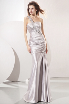One Shoulder Sheath Full Length Silver Satin Prom Dress