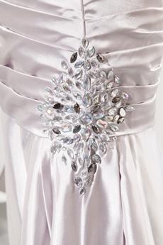 One Shoulder Sheath Full Length Silver Satin Prom Dress