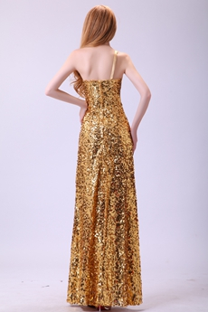 Fashionable One Shoulder A-line Gold Sequined Evening Gown