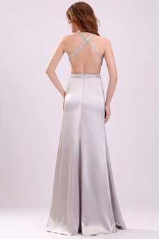 Sexy Crossed Straps A-line Full Length Silver Celebrity Dress Open Back