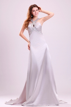Wonderful Double Straps A-line Floor Length Cut Out Silver Wedding Dress
