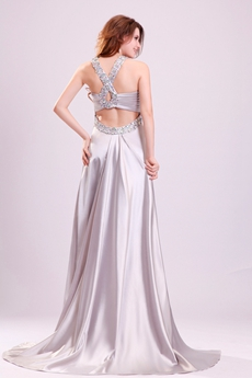 Wonderful Double Straps A-line Floor Length Cut Out Silver Wedding Dress