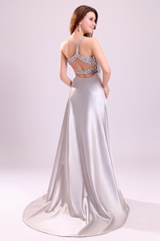 Impressive One Shoulder Silver Satin Evening Dress Cut Out Back