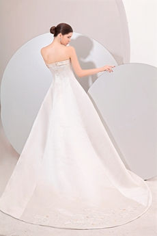 Glamourous Strapless A-line Satin White & Champagne Embroidery Wedding Dress