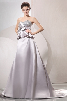 Exquisite Sweetheart Neckline A-line Floor Length Silver Bridal Dress With Peplum