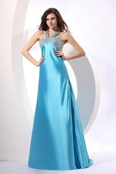 Cute Halter A-line Blue Satin Pageant Prom Dress With Beads & Sequins