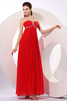 Stunning Spaghetti Straps Empire Ankle Length Plus Size Junior Prom Dress
