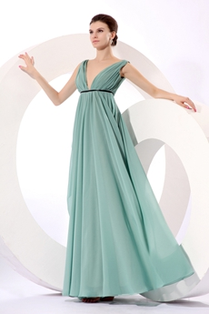 Grecian Plunge Neckline Empire Full Length Jade Green Maternity Prom Dress