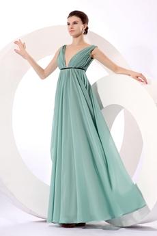 Grecian Plunge Neckline Empire Full Length Jade Green Maternity Prom Dress