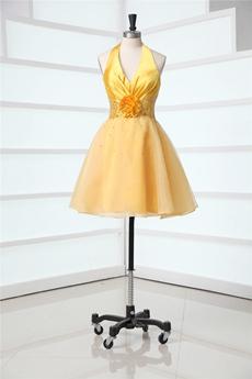 Lovely Halter Gold Mini Sweet 16 Dresses