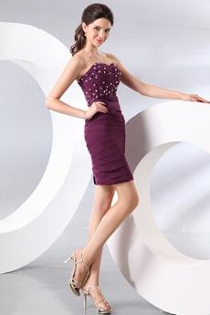 Sexy Shallow Sweetheart Sheath Mini Length Grape Colored Cocktail Dress