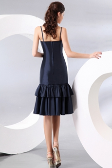 Spaghetti Straps Dark Navy Flare Skirt Wedding Guest Dress