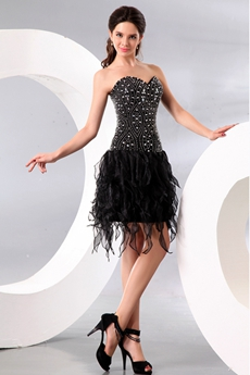 Newest Sweetheart Mini Length Black Damas Dress With Heavy Beads