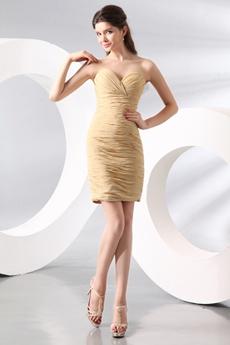 Trendy Sheath Mini Length Champagne Chiffon Mother Of The Groom Dress