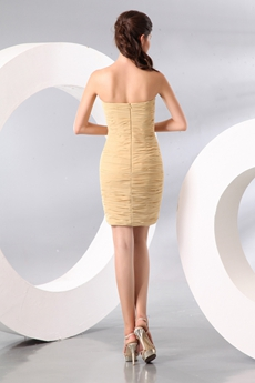 Trendy Sheath Mini Length Champagne Chiffon Mother Of The Groom Dress