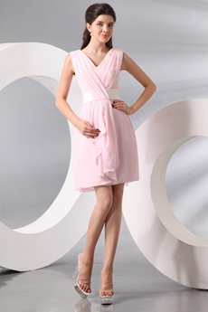 V-Neckline Mini Length Pink Chiffon Homecoming Dress