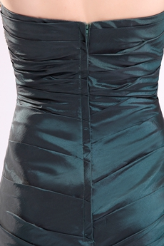 Gorgeous Strapless Sheath Mini Length Dark Green Cocktail Dresses With Beaded Bust