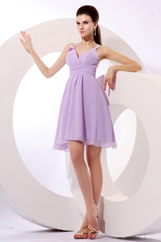 Short Length Lilac Chiffon Homecoming Dress