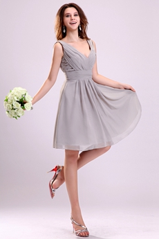 Sexy Deep V-Neckline Chiffon A-line Knee Length Silver Grey 8th Grade Graduation Dress