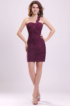 Modern Grape Chiffon One Shoulder Sheath Mini Length Cocktail Dress