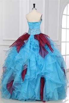 Inexpensive Strapless Ball Gown Blue & Burgundy Quinceanera Dress