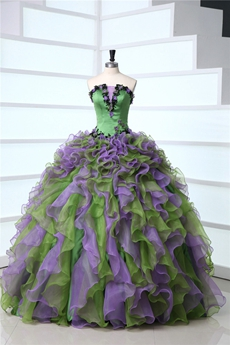 Stylish Strapless Multi-Colored Quinceanera Dresses