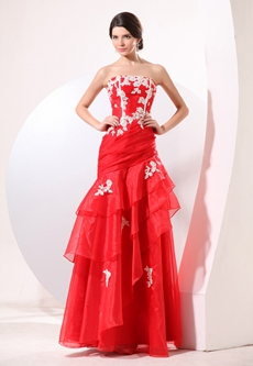Affordable Strapless A-line Red & White Organza Military Ball Dress