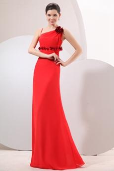Glamour Straps Column Long Red Chiffon Evening Dress