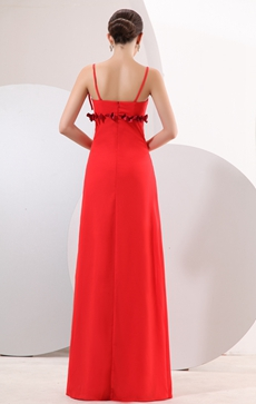 Glamour Straps Column Long Red Chiffon Evening Dress