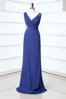 Elegan V-nteckline Royal Blue Mother Of The Bride Dresses
